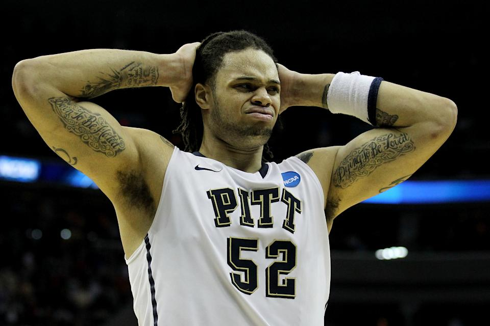 WASHINGTON - MARCH 19:  Gary McGhee #52 of the Pittsburgh Panthers reacts to their loss to the Butler Bulldogs during the third round of the 2011 NCAA men's basketball tournament at Verizon Center on March 19, 2011 in Washington, DC.  (Photo by Nick Laham/Getty Images)
