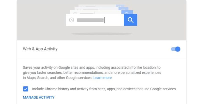 Turn off the option that allows Google to track your web and app activity.
