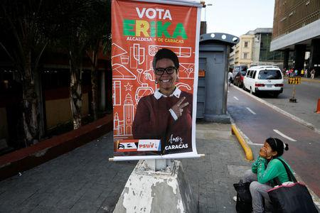 Election campaign posters of Erika Farias, government candidate for Mayor of Libertador district, are pictured in Caracas, Venezuela December 8, 2017. REUTERS/Marco Bello