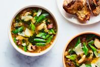 """The rich broth in this bacon-studded soup is built with fennel, leeks, and plenty of garlic. A lemon-dill pesto topper finishes it with a bright punch. <a href=""""https://www.epicurious.com/recipes/food/views/three-bean-soup?mbid=synd_yahoo_rss"""" rel=""""nofollow noopener"""" target=""""_blank"""" data-ylk=""""slk:See recipe."""" class=""""link rapid-noclick-resp"""">See recipe.</a>"""