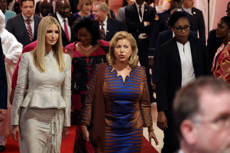 White House Advisor Ivanka Trump arrives at the first Women Entrepreneurs Finance Initiative (We-Fi) at the Sofitel hotel Ivoire in Abidjan, Ivory Coast April 17, 2019. REUTERS/Thierry Gouegnon