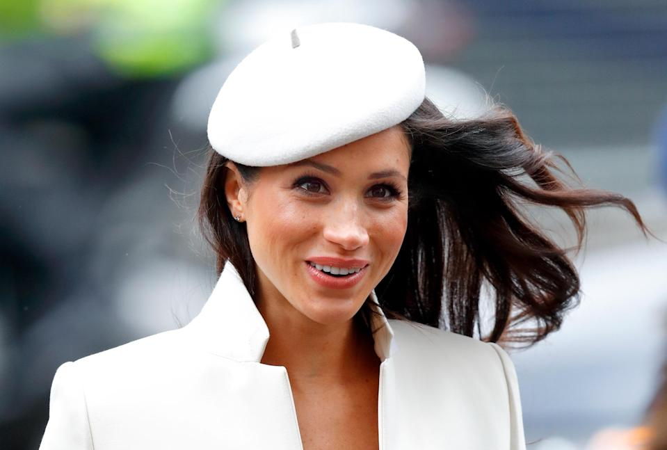 """<p>The future-royal during her <a rel=""""nofollow"""" href=""""https://ca.style.yahoo.com/meghan-markles-best-fashion-moments-slideshow-wp-184934375.html"""" data-ylk=""""slk:first public appearance alongside the Queen;outcm:mb_qualified_link;_E:mb_qualified_link;ct:story;"""" class=""""link rapid-noclick-resp yahoo-link"""">first public appearance alongside the Queen</a> for the 2018 Commonwealth Day service at Westminster Abbey, on Monday. <i>(Photos by Getty)</i> </p>"""