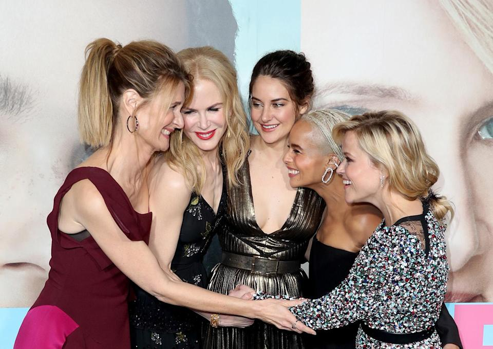 <p>Group hug! The leading ladies of the HBO hit shared a sweet embrace on the red carpet during the Hollywood premiere.<br> (Photo: Getty Images) </p>