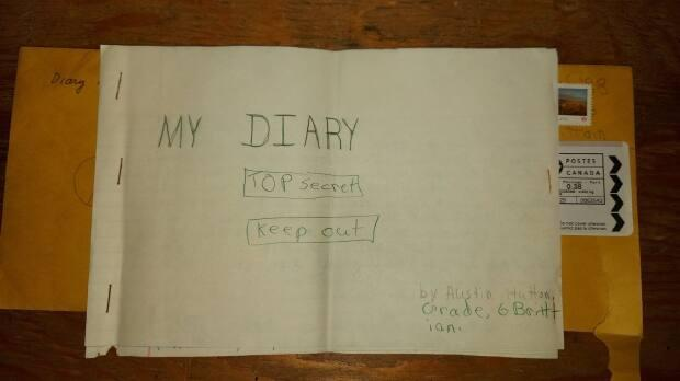 Austin Hutton was thrilled when his long-forgotten Grade 6 diary arrived in the mail.  (Submitted by Austin Hutton - image credit)