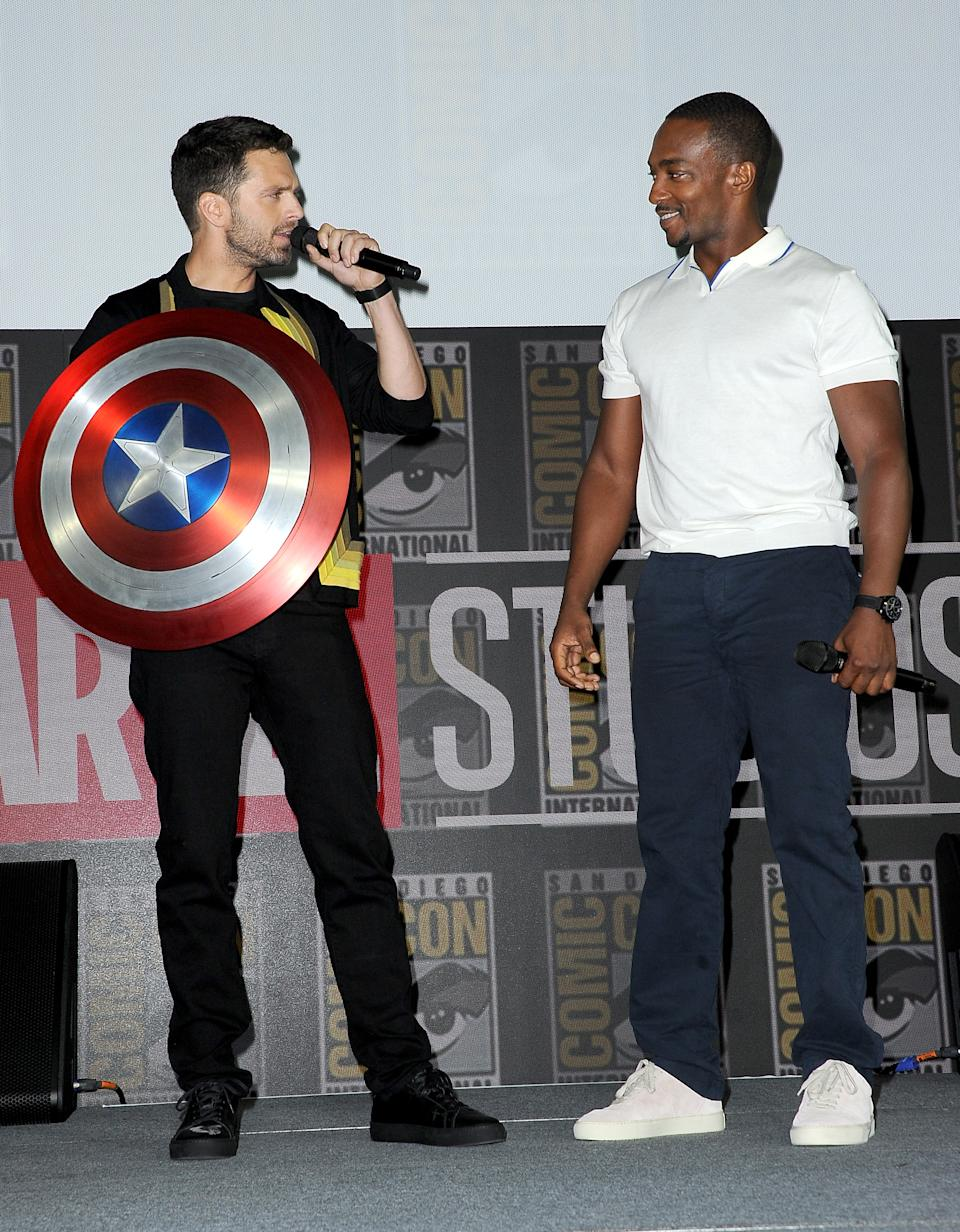 SAN DIEGO, CALIFORNIA - JULY 20: Sebastian Stan and Anthony Mackie speak at the Marvel Studios Panel during 2019 Comic-Con International at San Diego Convention Center on July 20, 2019 in San Diego, California. (Photo by Albert L. Ortega/Getty Images)