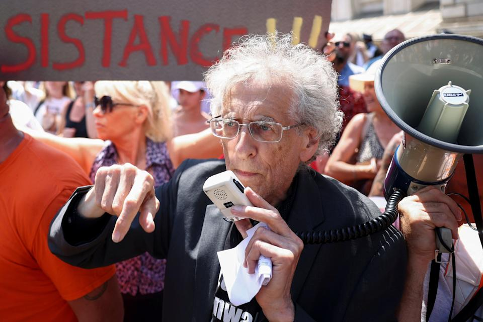Activist Piers Corbyn takes part in an anti-lockdown and anti-vaccine protest in Downing Street in June (Reuters)