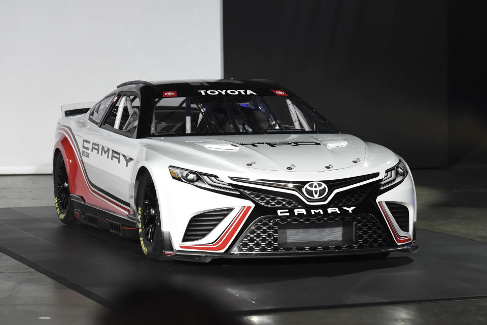 The 2022 Next Gen Toyota Camry Cup car was unveiled during a NASCAR media event in Charlotte, N.C., Wednesday, May 5, 2021. (AP Photo/Mike McCarn)