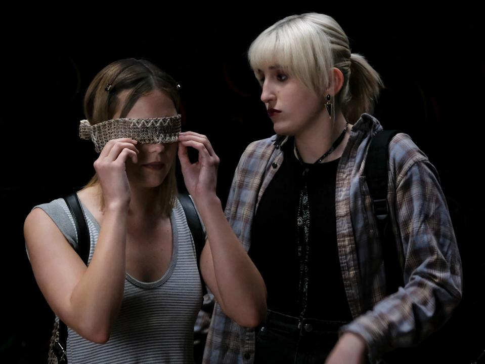 Into the (blind)fold: Olivia Holt and Harley Quinn Smith in 'Cruel Summer' (Freeform)