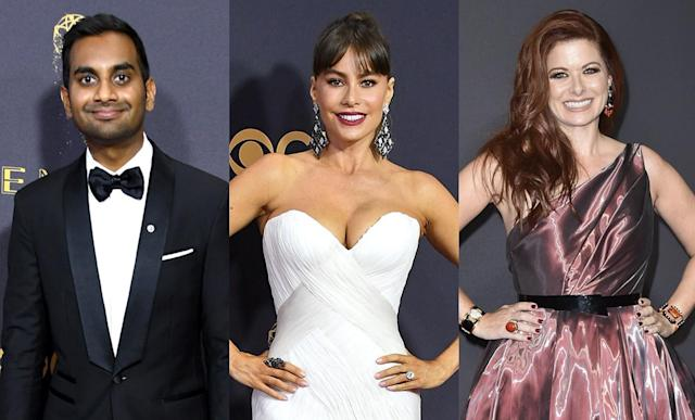 Aziz Ansari, Sofía Vergara, and Debra Messing, pictured at the 2017 Emmys, grabbed a bite or called it a night after the after-parties. (Photo: Getty Images)