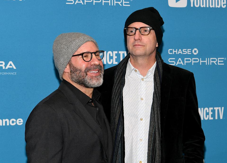 "PARK CITY, UTAH - JANUARY 26: Screenwriter Scott Z. Burns (L) and director Steven Soderbergh attend the ""The Report"" Premiere during the 2019 Sundance Film Festival at Eccles Center Theatre on January 26, 2019 in Park City, Utah. (Photo by Dia Dipasupil/Getty Images)"
