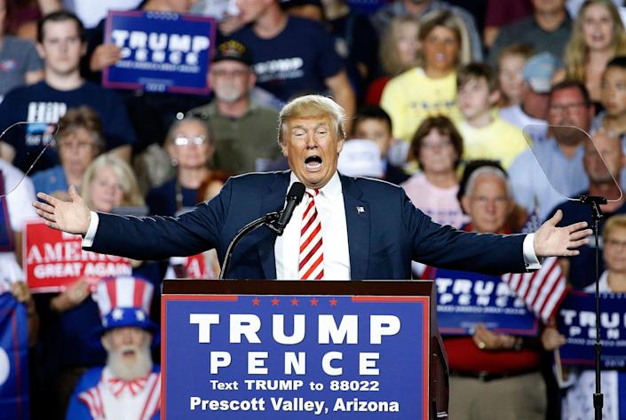 <p>Donald Trump speaks at a campaign rally Tuesday, Oct. 4, 2016, in Prescott Valley, Ariz. (AP Photo/Ross D. Franklin) </p>