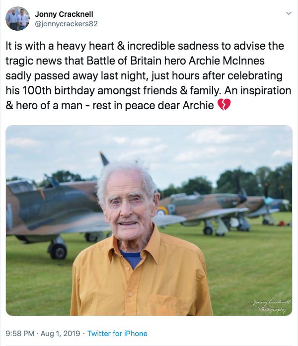 """An inspiration"": His biographer and friend Jonny Cracknell tweeted a tribute to the veteran (Twitter)"