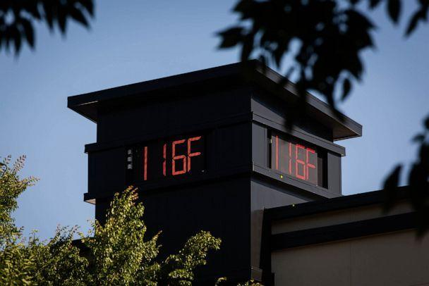 PHOTO: A thermometer reads 116 degrees Fahrenheit during a heatwave in Portland, Ore., on June 28, 2021. (Bloomberg via Getty Images, FILE)