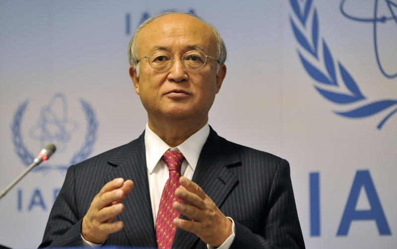 """Director General of the International Atomic Energy Agency, IAEA, Yukiya Amano of Japan speaks during a news conference after the IAEA board of governors meeting at the International Center in Vienna, Austria, on Monday, Sept. 9, 2013. Diplomats say that Russia is pressing the U.N. atomic agency to report on the nuclear risk of air strikes on Syria in efforts to stave off possible U.S. attack. A confidential letter from the Russian foreign ministry to Amano obtained by The Associated Press Monday warns of the """"catastrophic"""" consequences of a strike on a research reactor near Damascus. (AP Photo/Hans Punz)"""