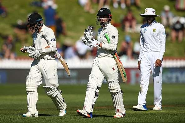 WELLINGTON, NEW ZEALAND - MARCH 16: BJ Watling and Henry Nicholls of New Zealand leave the field for tea during day one of the Test match between New Zealand and South Africa at Basin Reserve on March 16, 2017 in Wellington, New Zealand. (Photo by Hagen Hopkins/Getty Images)