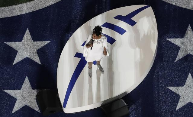 <p>Gladys Knight sings the national anthem before the NFL Super Bowl 53 football game between the Los Angeles Rams and the New England Patriots Sunday, Feb. 3, 2019, in Atlanta. (AP Photo/Morry Gash) </p>