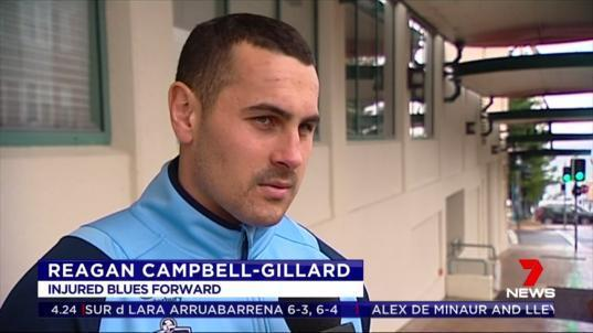 Injured forward Reagan Campbell-Gillard has rejoined the Blues camp after being ruled out of the rest of the series with a broken jaw.