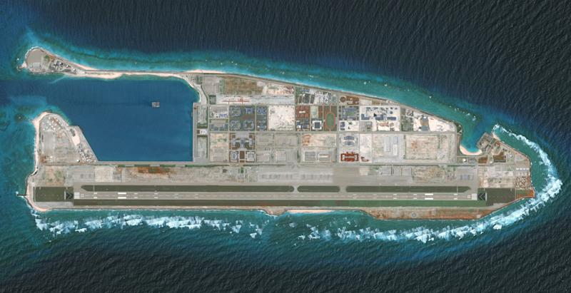 FIERY CROSS REEF, SOUTH CHINA SEA - AUG 15, 2018:  DigitalGlobe via Getty Images overview imagery of the Fiery Cross Reef located in the South China Sea. Fiery Cross is located in the western part of the Spratly Islands group.  Photo DigitalGlobe via Getty Images via Getty Images.