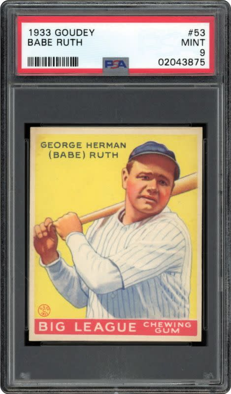 A 1933 Goudey Babe Ruth baseball card from the collection of Dr. Thomas Newman