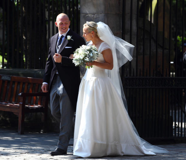 Zara Tindall, née Phillips, married Mike Tindall in a corseted dress by Stewart Parvin in July 2011. (Getty Images)