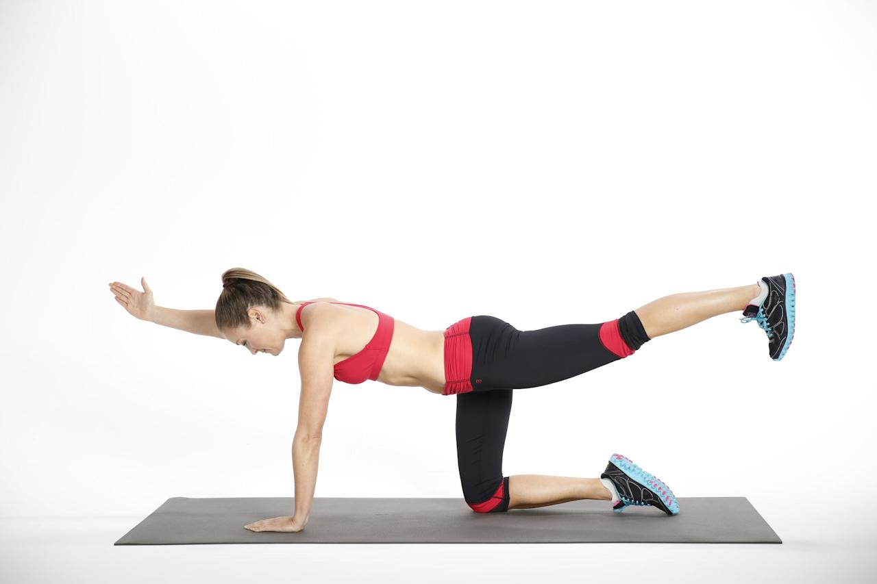 <ul> <li>Begin on all fours with your hands directly under your shoulders and your knees directly under your hips.</li> <li>Pull your abs in to your spine. Keeping your back and pelvis still and stable, reach your right arm forward and left leg back until they are parallel to the floor. Focus on not letting the rib cage sag toward the floor. Reach through your left heel to engage the muscles in the back of the leg and your butt.</li> <li>Hold for 30-60 seconds, then repeat on the other side.</li> </ul>