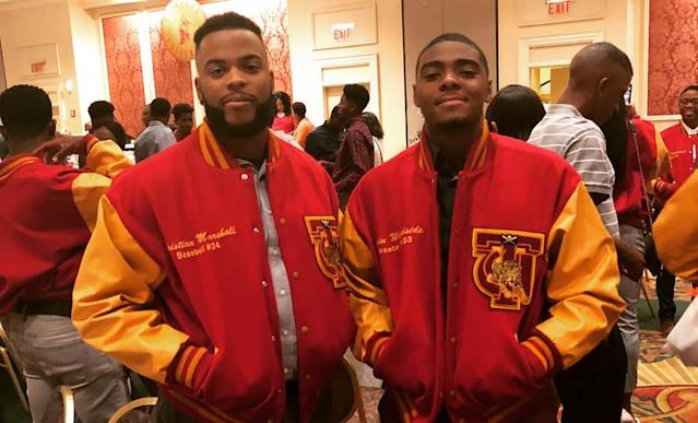 Christian Marshall (L) and Elgin Woodside (R) are baseball teammates at Tuskegee University. (Photo courtesy Christian Marshall)
