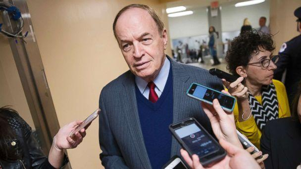 PHOTO: Reporters seek a comment from Sen. Richard Shelby, a critic of Alabama Republican Roy Moore who is running for the Senate in a special election, on Capitol Hill, Dec. 12, 2017. (J. Scott Applewhite/AP)