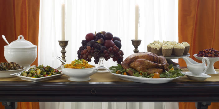 Banquet table set for Thanksgiving (James Baigrie / Getty Images)