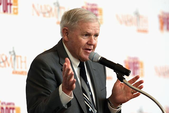 Denny Crum, former Louisville head coach, suffered a stroke this past week. (Photo by Tim Bradbury/Getty Images)