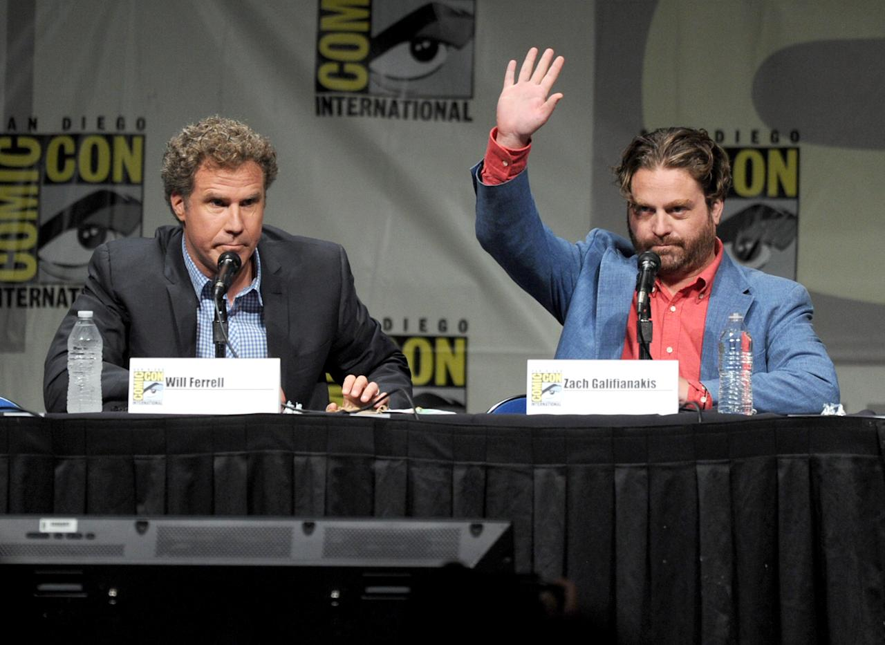 "SAN DIEGO, CA - JULY 14:  Actors Will Ferrell (L) and Zach Galifianakis speak at Warner Bros. Pictures and Legendary Pictures Preview of ""The Campaign"" during Comic-Con International 2012 at San Diego Convention Center on July 14, 2012 in San Diego, California.  (Photo by Kevin Winter/Getty Images)"
