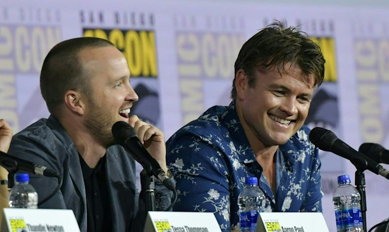 Aaron Paul (left) shares a laugh with co-star Luke Hemsworth during the