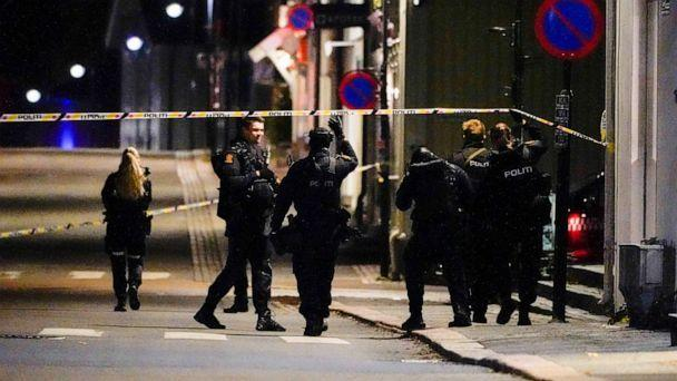 PHOTO: Police stand at the scene after an attack in Kongsberg, Norway, Wednesday, Oct. 13, 2021. Several people have been killed and others injured by a man armed with a bow and arrow in a town west of the Norwegian capital, Oslo. (Hakon Mosvold Larsen/NTB Scanpix via AP)
