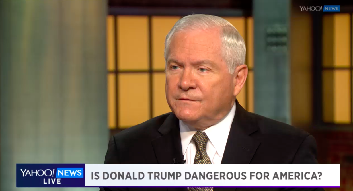 Former Secretary of Defense Robert Gates discusses Donald Trump's foreign policy proposals with Katie Couric in New York. (Photo: Yahoo News)