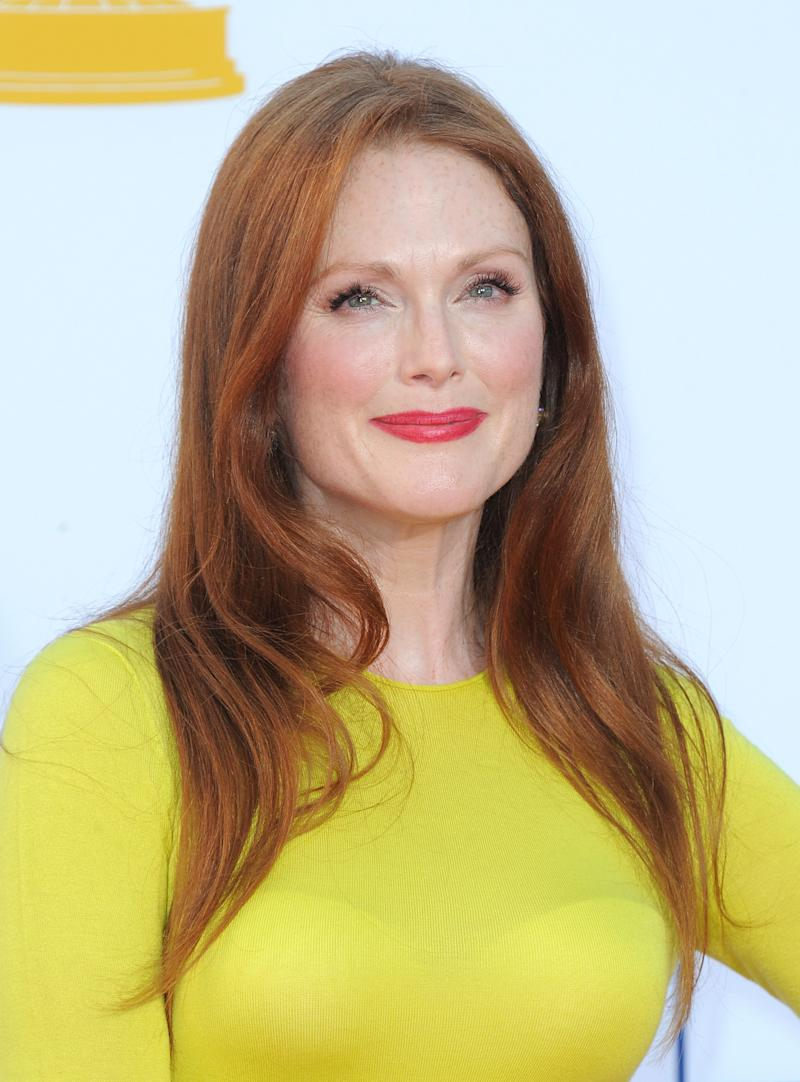 Actress Julianne Moore arrives at the 64th Primetime Emmy Awards at the Nokia Theatre on Sunday, Sept. 23, 2012, in Los Angeles.  (Photo by Jordan Strauss/Invision/AP)