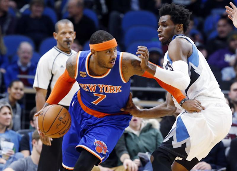 Carmelo Anthony has a 15 percent trade bonus in his contract. (AP)
