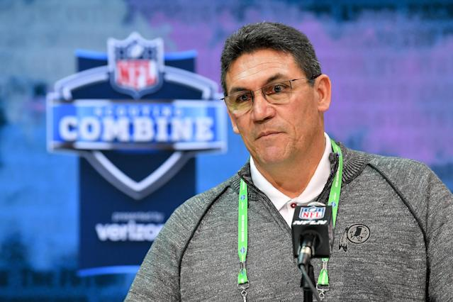 Redskins coach Ron Rivera will meet with quarterbacks Joe Burrow and Tua Tagovailoa at the NFL scouting combine. (Photo by Alika Jenner/Getty Images)