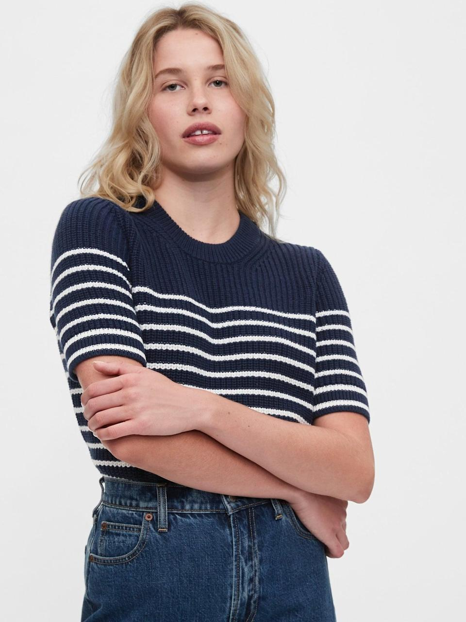 <p>This <span>Gap Shaker Sweater</span> ($50) is perfect for fall.</p>