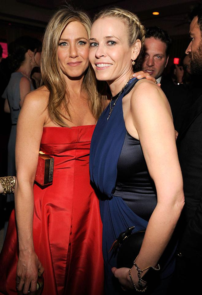 Jennifer Aniston and Chelsea Handler attend the 2013 Vanity Fair Oscar Party hosted by Graydon Carter at Sunset Tower on February 24, 2013 in West Hollywood, California.