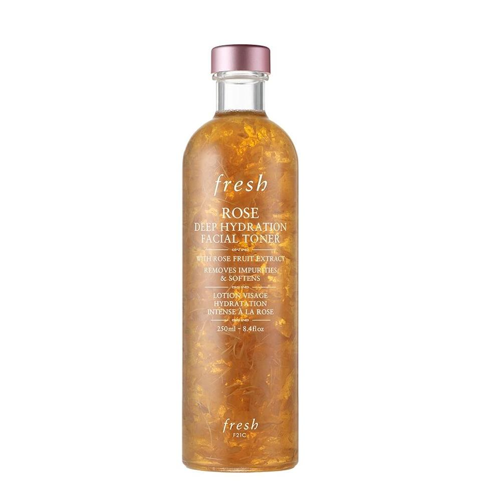 """<p>We came for the Fresh Rose Deep Hydration Facial Toner because we have an unhealthy obsession with all things rose, but we stayed because it's just that damn good. The <a href=""""https://www.allure.com/review/fresh-rose-deep-hydration-facial-toner?mbid=synd_yahoo_rss"""" rel=""""nofollow noopener"""" target=""""_blank"""" data-ylk=""""slk:2017 Best of Beauty winner"""" class=""""link rapid-noclick-resp"""">2017 Best of Beauty winner</a> contains rose fruit extract, rosewater, and angelica leaf extract — all known for their nourishing and soothing properties. Plus, it's alcohol-free, so it won't dry your skin out.</p> <p><strong>$45</strong> (<a href=""""https://click.linksynergy.com/deeplink?id=MZ9491VLjxM&mid=1237&u1=allurebesttoners&murl=https%3A%2F%2Fshop.nordstrom.com%2Fs%2Ffresh-rose-deep-hydration-facial-toner%2F4593821%2Flite"""" rel=""""nofollow noopener"""" target=""""_blank"""" data-ylk=""""slk:Shop Now"""" class=""""link rapid-noclick-resp"""">Shop Now</a>)</p>"""
