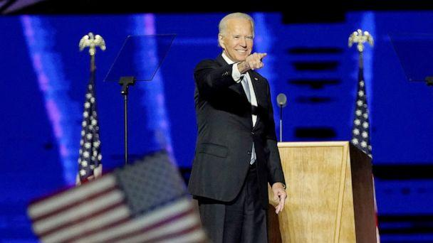 PHOTO: President-elect Joe Biden addresses the nation from the Chase Center in Wilmington, Del., Nov. 7, 2020. (Andrew Harnik/Pool via Getty Images)