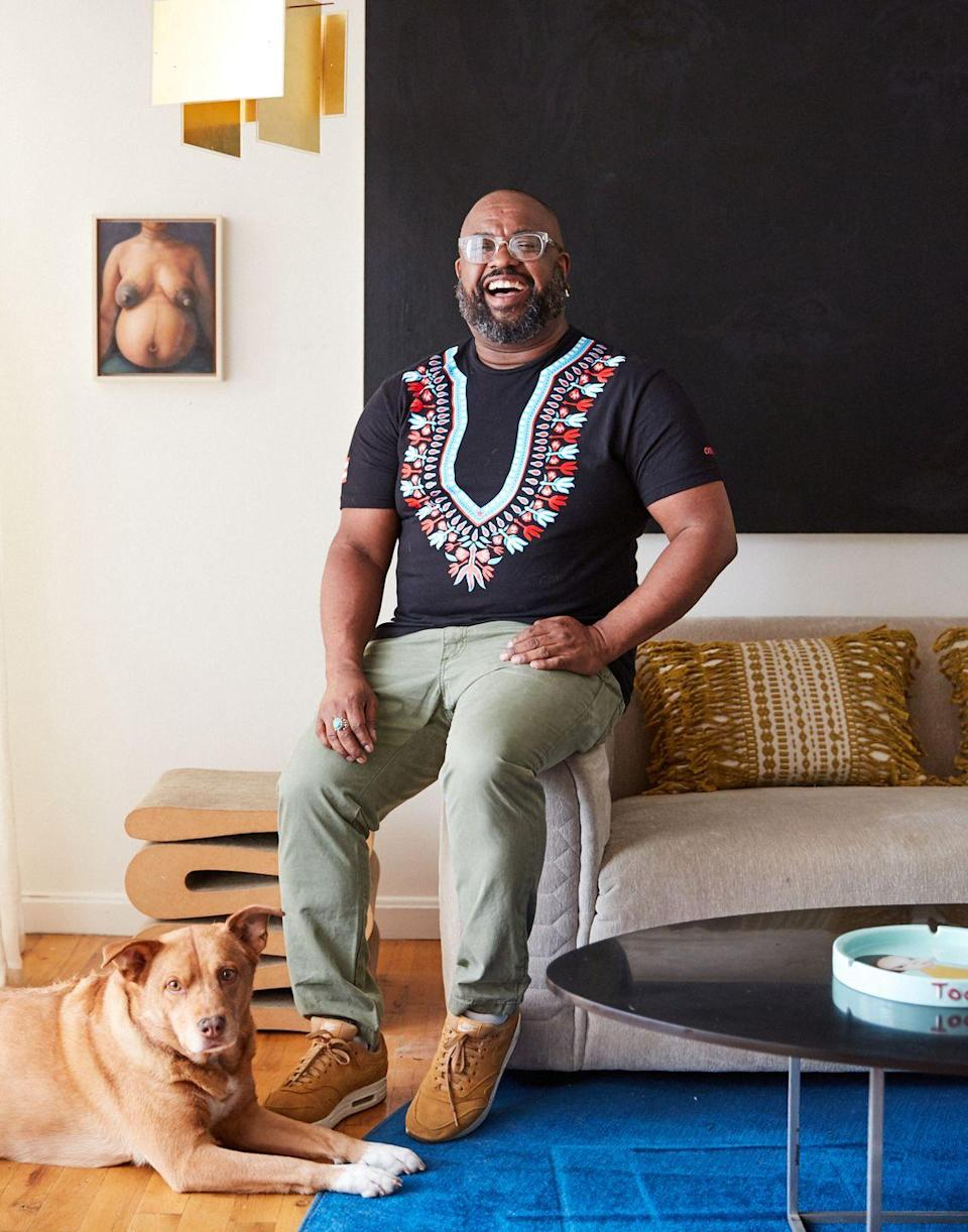 """<p>""""Etsy is a great democratic resource made up of diverse merchandise that ranges from high-end to affordable furnishings, rugs, and home decor,"""" says the New York–based designer.</p><p>Lewis's favorite finds reflect his colorful, modern approach to design. He adores this <a href=""""https://www.etsy.com/shop/moroccanwoolrug?ref=simple-shop-header-name&listing_id=706028956"""" rel=""""nofollow noopener"""" target=""""_blank"""" data-ylk=""""slk:traditional Moroccan Berber Azilal carpet"""" class=""""link rapid-noclick-resp"""">traditional Moroccan Berber Azilal carpet</a> and this <a href=""""https://www.etsy.com/listing/581371578/sideboard-silenus-luxury-handmade?ref=cart"""" rel=""""nofollow noopener"""" target=""""_blank"""" data-ylk=""""slk:Sileneus sideboard"""" class=""""link rapid-noclick-resp"""">Sileneus sideboard</a> by Ralis Kotlevs, both of which are made by hand.</p><p>""""Having bold statement pieces can also tell an intimate story about one's self or of their space,"""" Lewis says. """"Adding handmade furniture to your environment combines art and culture, creating a sense of intimacy with its makers.""""</p>"""