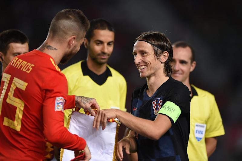 Real Madrid team-mates Sergio Ramos and Luka Modric will face off again: Getty Images