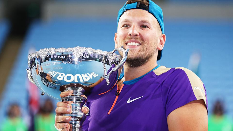 Dylan Alcott, pictured here after winning the quad wheelchair singles final at the Australian Open.