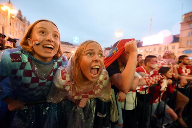 Croatian fans celebrate their equaliser.