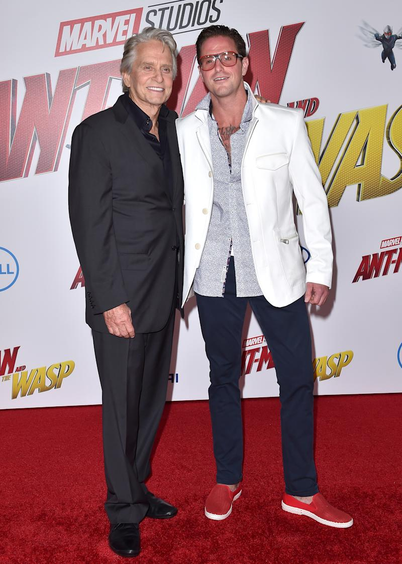 HOLLYWOOD, CA - JUNE 25: Actors Michael Douglas and Cameron Douglas attend the premiere of Disney and Marvel's 'Ant-Man and the Wasp' at El Capitan Theatre on June 25, 2018 in Hollywood, California. (Photo by Axelle/Bauer-Griffin/FilmMagic)