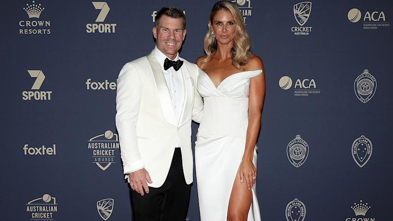 David and Candice Warner, pictured here on the red carpet at the Australian Cricket Awards.