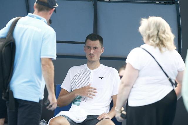 Bernard Tomic appeared to have breathing issues during his qualifying defeat to Denis Kudla Photo: Getty Images