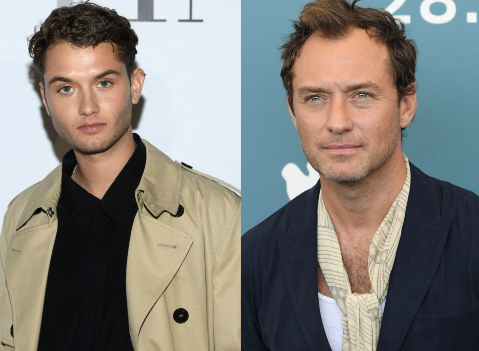 Jude Law's 24-year-old son is heading into the family business and making a name for himself as an actor and model. (Images via Getty Images)