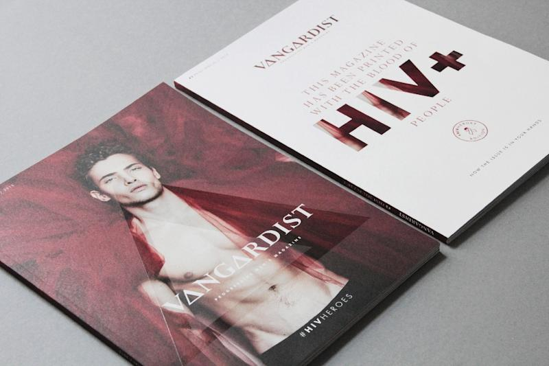 Vangardist's #HIVHeroes edition is printed using blood donated by three people who are HIV-positive and mixed with normal ink