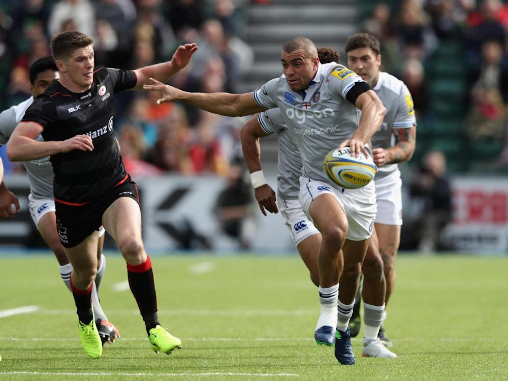 England teammates Jonathan Joseph and Owen Farrell lined up against each other (Getty)